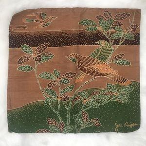 Other - 100% Thai Silk Earthtone Batik Bird Pillowcase